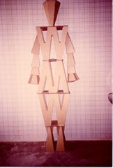 """W"" Man – made entirely from cardboard – positive/negative pieces of a ""W"", 6ft. tall."