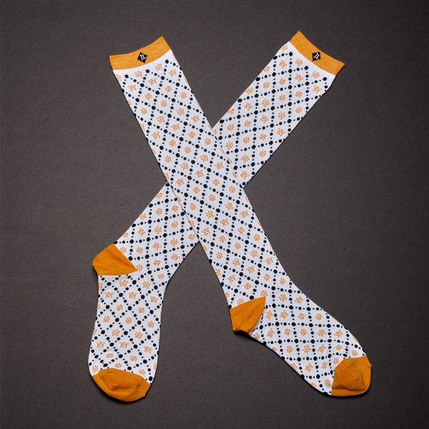 Knee High Socks - Diamond / White (Wholesale)