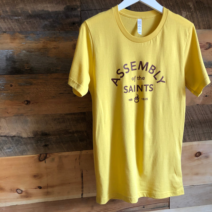 Assembly of the Saints Crew T-Shirt - Gold w/ Burgundy Logo