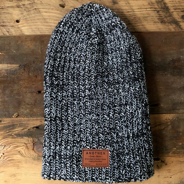 Leather Label Oversized Beanie - Bulky Knit