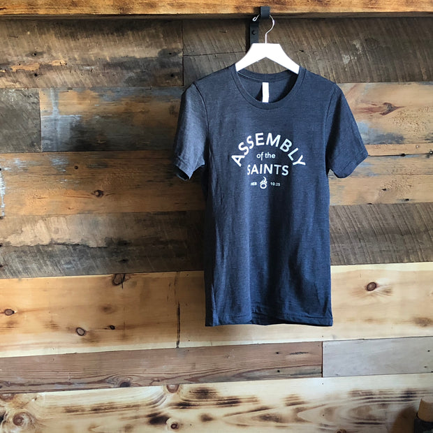 Assembly of the Saints Crew T-Shirt - Heather Navy w/ White Logo