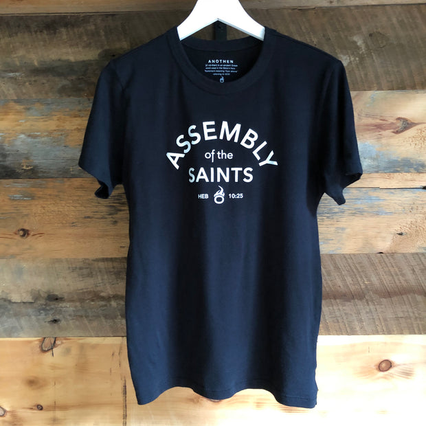 Assembly of the Saints 'Soft-Knit' Crew T-Shirt - Black w/ White logo