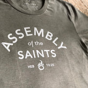 Assembly of the Saints Crew T-Shirt - Heather Olive w/ Ivory Logo