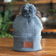 Insignia Pom Pom Beanie - Leather Label