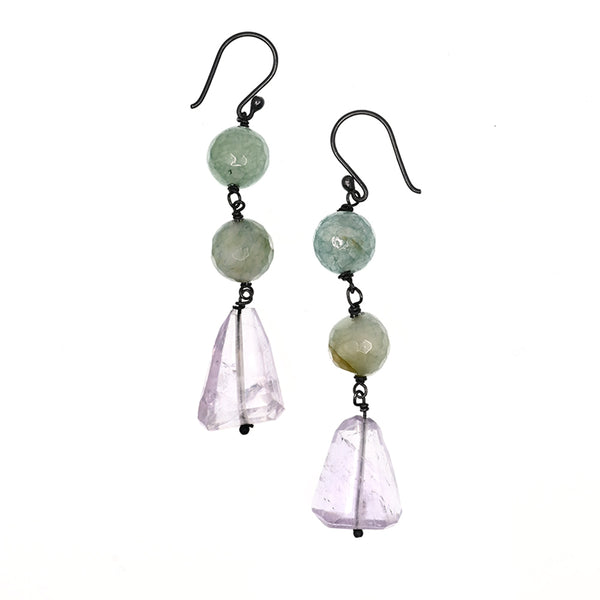 Earrings Long Green and Lavender