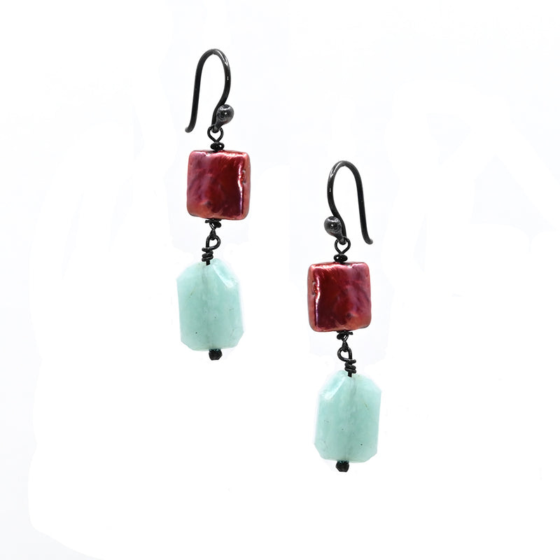 Earrings Red Turquise