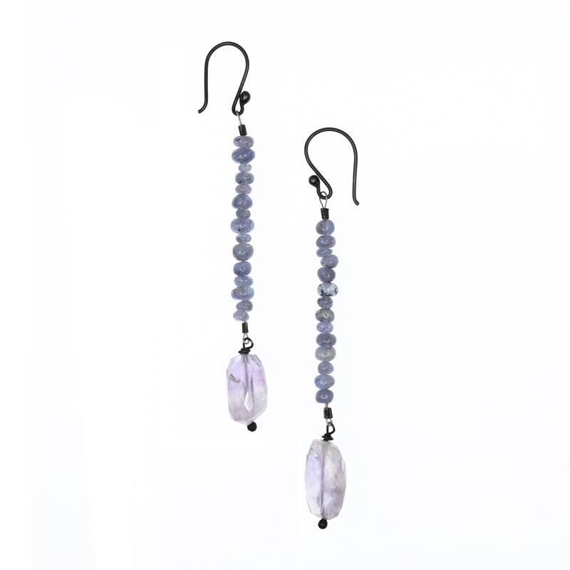 Earrings, long bleu sapphire