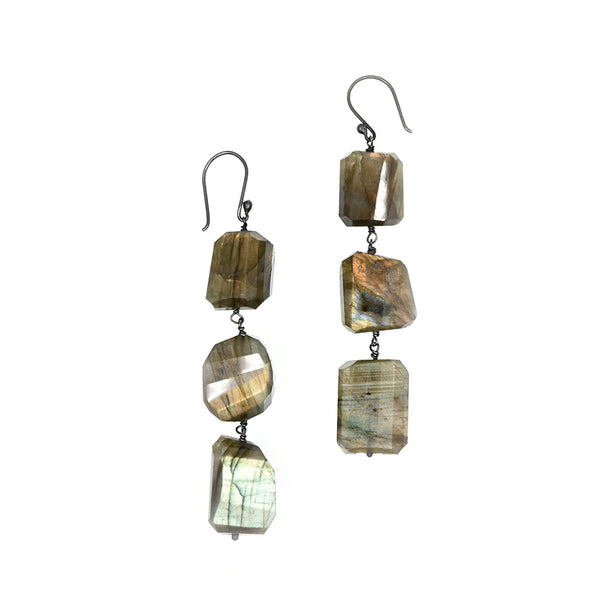 Earrings Long Labradorite