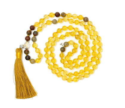 Citrine And Picasso Jasper Malas Beads Necklace