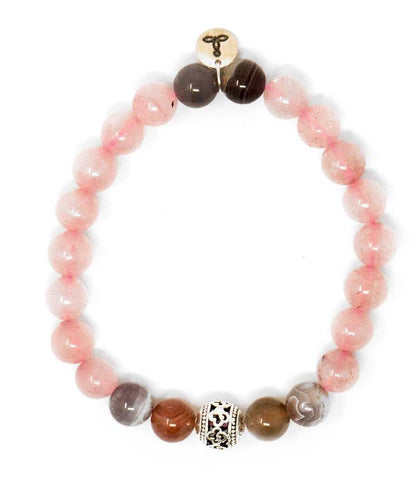 Rose Quartz And Botswana Malas Beads Bracelet