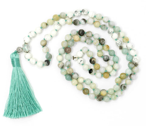 Amazonite And Howlite Malas Beads Necklace