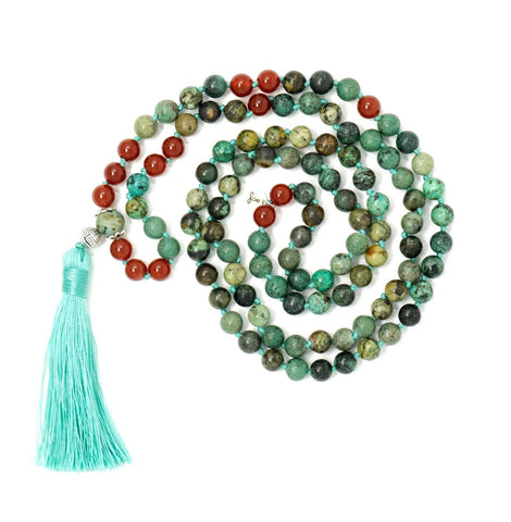 African Turquoise and Carnelian Mala Beads Necklace