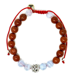 Red Jasper/Blue Lace Agate Larimar Accessories Premium 8mm Gemstone Mala Beads Adjustable Bracelet | Larimar Accessories