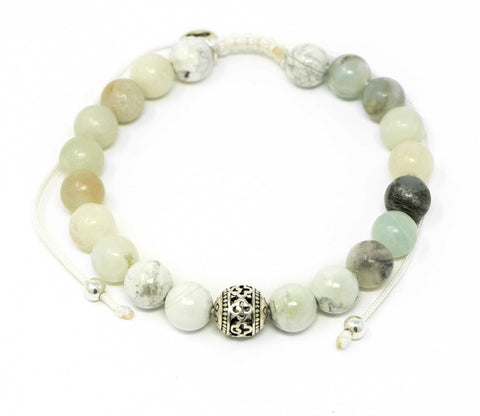 Amazonite and Howlite Malas Beads Bracelet