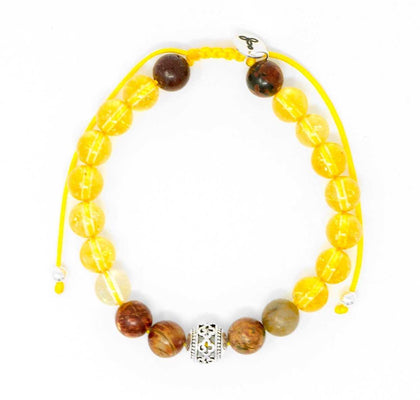 Citrine and Picasso Jasper Malas Beads Bracelet
