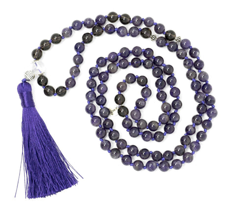 Amethyst And Smoky Quartz Malas Beads Necklace
