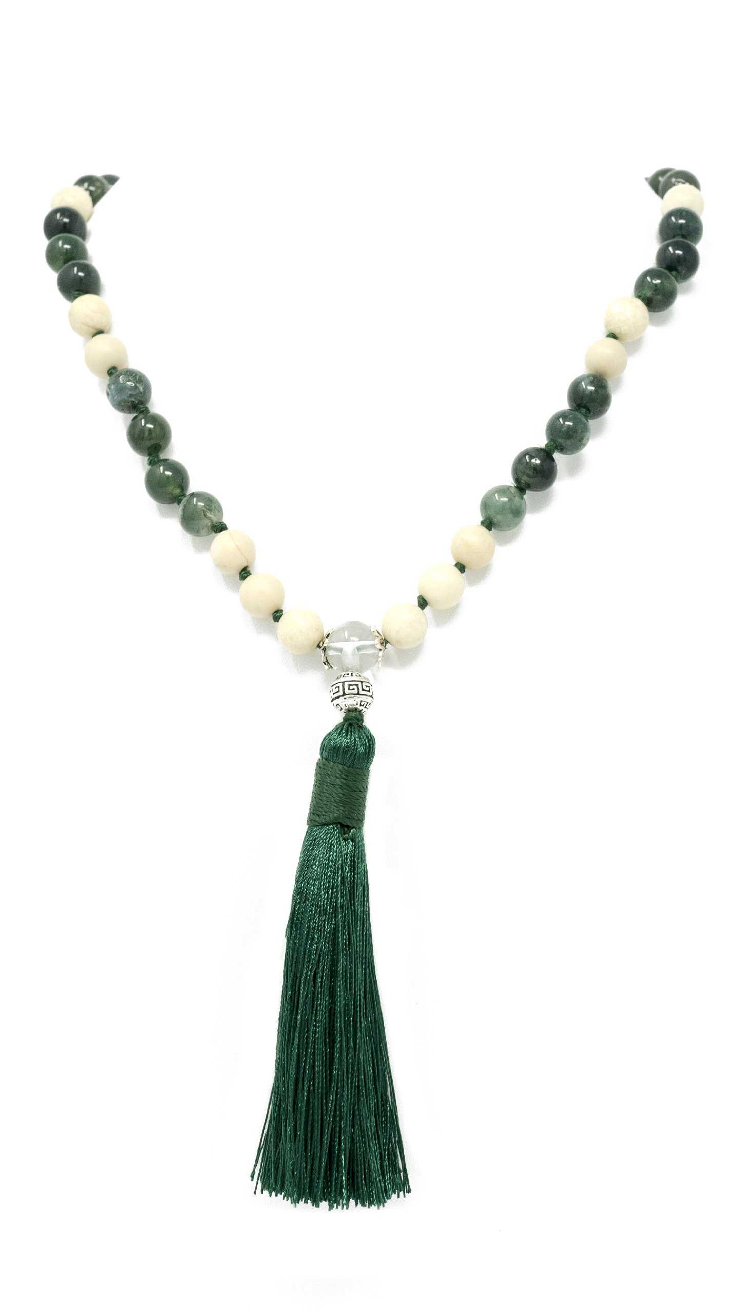 Moss Agate And Riverstone Larimar Accessories Premium 8mm Natural Gemstone Mala Beads Necklace | Larimar Accessories