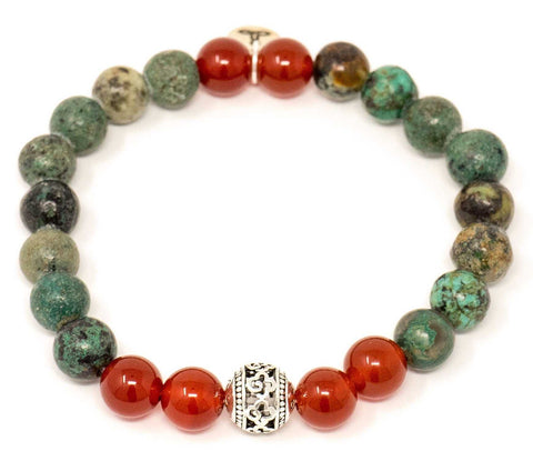 African Turquoise and Carnelian Mala Beads Bracelet