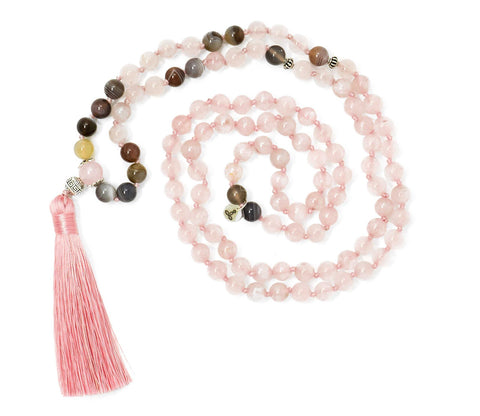 Rose Quartz And Botswana Malas Beads Necklace