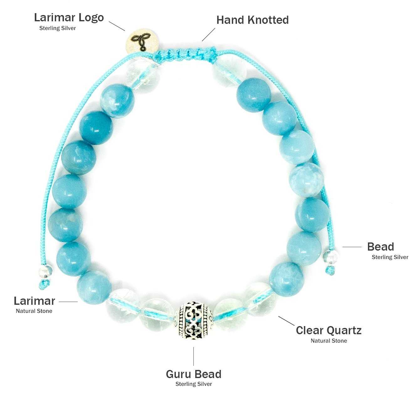 Larimar and Clear Quartz Malas Beads Bracelet