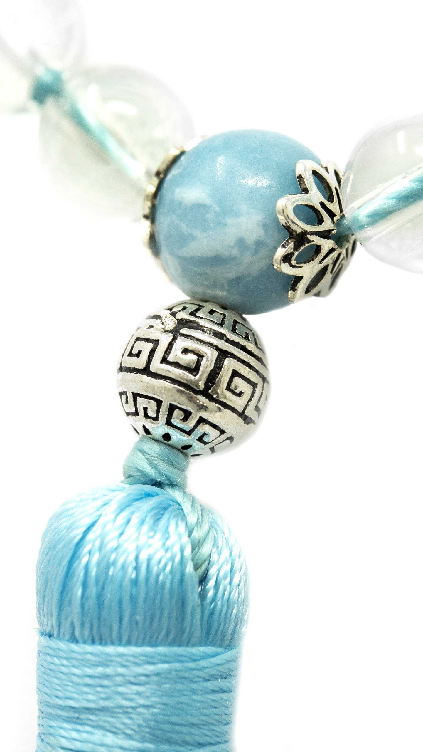 Larimar and Clear Quartz Malas Beads Necklaces