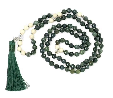 Moss Agate and Riverstone Malas Beads Necklace