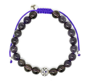 Amethyst/Smoky Quartz Larimar Accessories Premium 8mm  Gemstone Mala Beads Adjustable Bracelet | Larimar Accessories