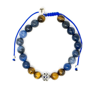 Sodalite/ Tiger Eye Larimar Accessories Premium 8mm Gemstone Mala Beads Adjustable Bracelet | Larimar Accessories