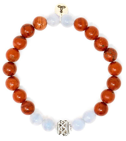 Red Jasper and Blue Lace Agate Malas Bead Bracelet