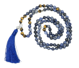 Sodalite And Tiger Eye Larimar Accessories Premium 8mm Natural Gemstone Mala Beads Necklace | Larimar Accessories