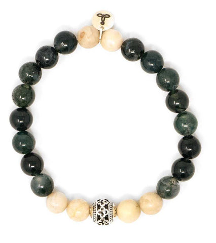 Moss Agate and Riverstone Malas Beads Bracelet