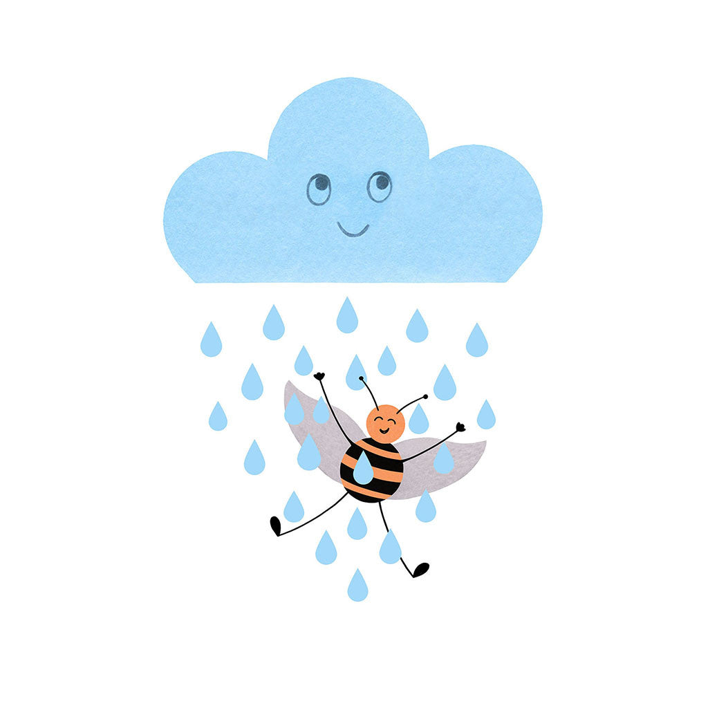Rainy Bee Framed Print