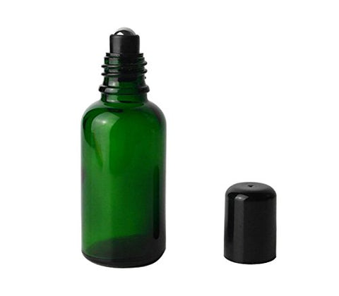 3Pcs Green Essential Oil Glass Roll On Vial Packing Bottle Jars With Steel Roller Balls Cosmetic Perfume Makeup Storage Holder Container For Women(30Ml/1Oz)