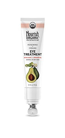 Nourish Organic Renewing + Cooling Eye Treatment, Avocado And Argan Oil,  0.5 Ounce