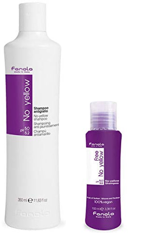 Fanola No Yellow Shampoo 350 Ml And Fanola Free No Yellow Vegan Shampoo Travel Size, 100Ml