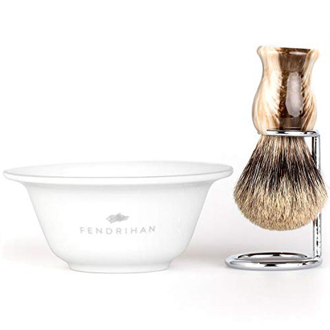 Fendrihan Porcelain Grey Shaving Bowl And Classic Pure Grey Badger Shaving Brush With Metal Stand Set (Faux Horn Badger Brush)