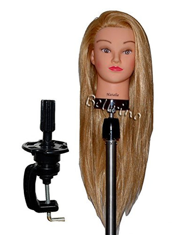 Bellrino 26-28  Cosmetology Mannequin Manikin Training Head With Synthentic Fiber With Table Clamp Holder Natalie