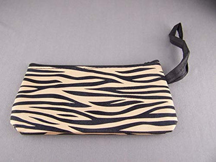 Black Tan Zebra Stripe Print Coin Purse Makeup Bag Pouch Mirror Faux Leather