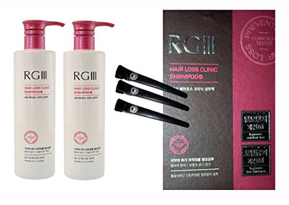 Rgiii Rg3 Hair Loss Clinic Shampoo 17.5 Oz 2Ea + Free Samurai Pro Hair Clips 3Pcs