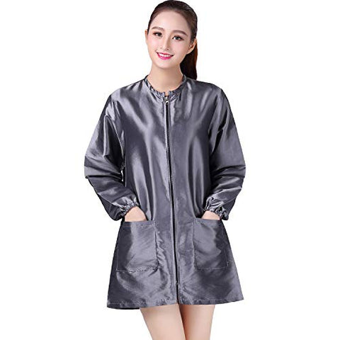Kahot Professional Salon Smock Stylist Jacket Cosmetology Uniform Zipper Hairdressing Cape Hairdresser Work Clothes Hair Beauty Spa Guest Client Kimono Gown (M, Grey)