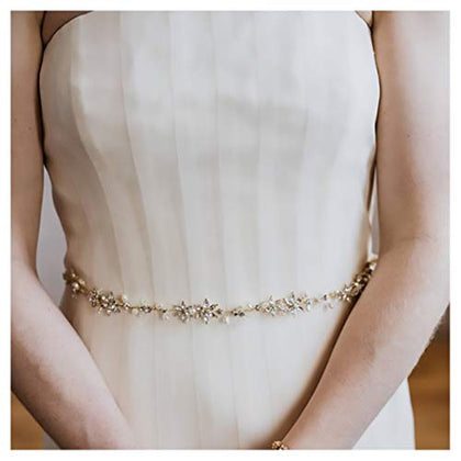 Yanstar Handmade Pearl Beads And Gold Crystal Wedding Bridal Belt For Wedding Bridal Dress