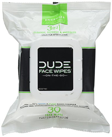 Dude Face &Amp; Body Wipes 30 Count Energizing &Amp; Refreshing Scent Infused With Pro Vitamin B-5, Face Cleansing Cloths For Men, Lightly Scented For Mid-Day Refreshment, Hypoallergenic, Alcohol-Free