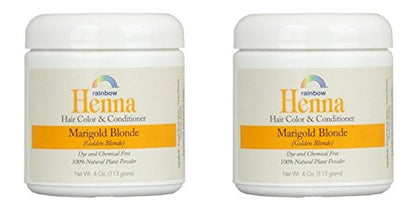 Rainbow Research Henna Marigold Blonde Hair Color And Conditioner  With Marigold Flowers And Chamomile, 4 Oz. Each.