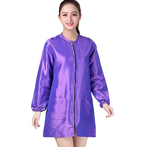 Kahot Professional Salon Smock Stylist Jacket Cosmetology Uniform Zipper Hairdressing Cape Hairdresser Work Clothes Hair Beauty Spa Guest Client Kimono Gown (M, Violet)