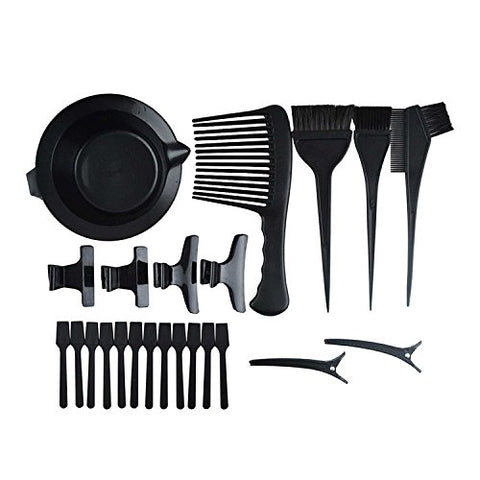 23Pcs Professional Hair Dye Coloring Tool Kit Personal Diy Dyeing Brush Hairdressing Comb Hair Tint Mixing Bowl Styling Hair Clips