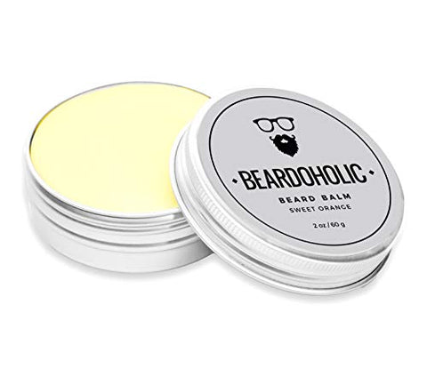Beardoholic Beard Balm - Sweet Orange, 100% Organic With Extra Hold For Styling And Shaping Your Beard With Ease, Eliminates Itch And Dandruff