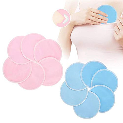 """Nursing Pads, 12Pcs/Set Washable Soft Bamboo Fiber Prevention Leakproof Breastfeeding Pad Discharge Makeup Pads, Ventilate, Bibulous(01# Blue + Pink)"""