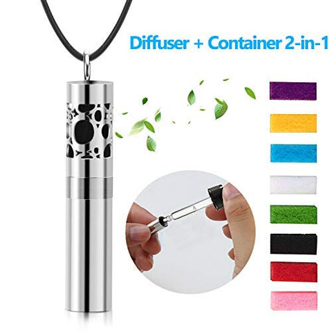 Essential Oil Diffuser Necklace With Dispenser And Container 2-In-1 Stainless Steel Aromatherapy Pendant Locket Perfume Bottle With 8 Colors Pads For Women Men Kids Leather