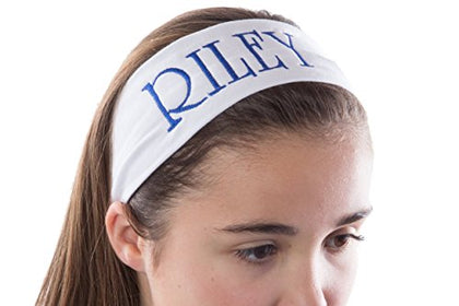 Personalized Custom Cotton Stretch Headband Embroidered With Your Text- 2.5 Inch (Red Headband)