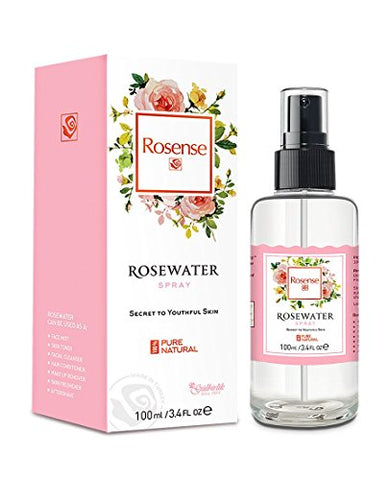 Rosense Glass Bottle Rosewater Hydrating Facial Toner/Rose Water Face Mist 3.4 Oz